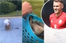 Video footage captures Arsenal star Aaron Ramsey's humane act to help stranded ducklings