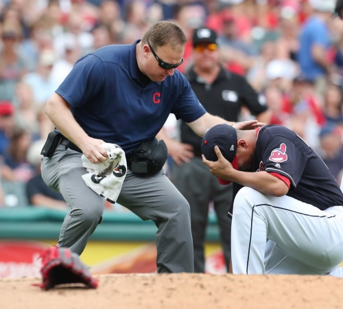 Carlos Carrasco undergoes further testing on injured right elbow after taking line drive shot against Twins