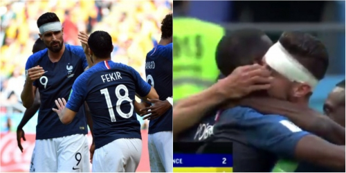 Nabil Fekir accidentally pokes Olivier Giroud in the eye during France winner celebrations