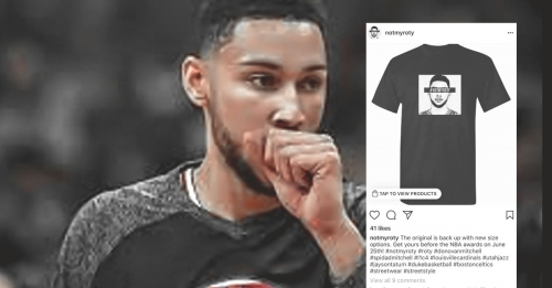"Sixers' Ben Simmons trolls account selling ""Not My ROY"" shirts"