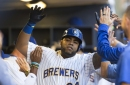 Brewers blast Braves 10-3, Aguilar homers twice