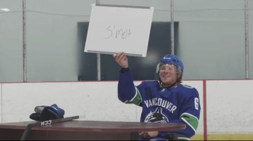 Brock Boeser cruelly critiques Charlie McAvoy's shot in promotional video