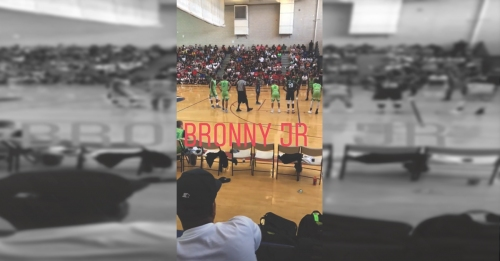 Dwyane Wade watches LeBron James' son Bronny