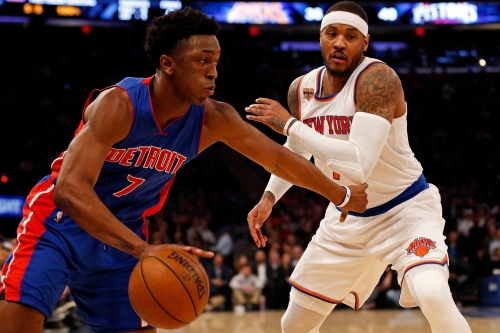 Detroit Pistons' Stanley Johnson works out with Carmelo Anthony