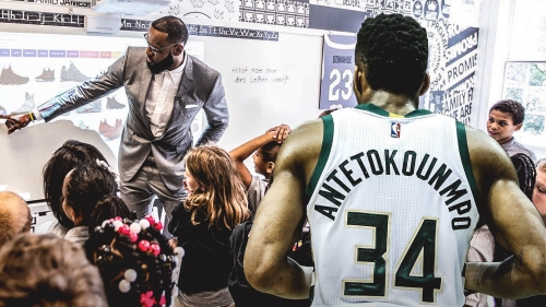 Giannis Antetokounmpo looks to follow LeBron James' lead after I Promise School opening