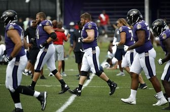 Ravens' Yanda works out during Baltimore-LA Rams practices