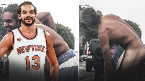 Knicks' center Joakim Noah appears to strip clothes in LA streets