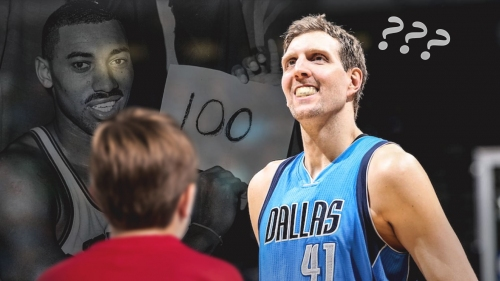 Dirk Nowitzki got asked by a kid if he's going to break Wilt Chamberlain's 100-point record
