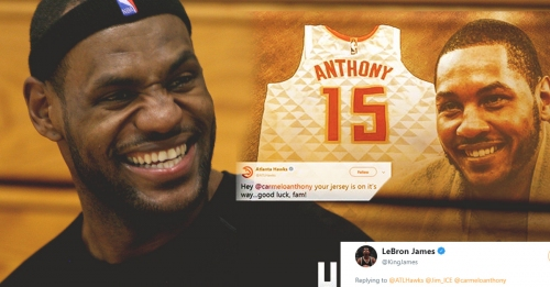 LeBron James' hilarious tweet on Carmelo Anthony getting a Hawks jersey