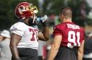 Morgan Moses goes down clutching his knee, Huge brawl between Redskins and Jets