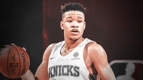 Knicks' Kevin Knox gets big birthday cake from ex-college teammates at NBA Rookie Photo Shoot