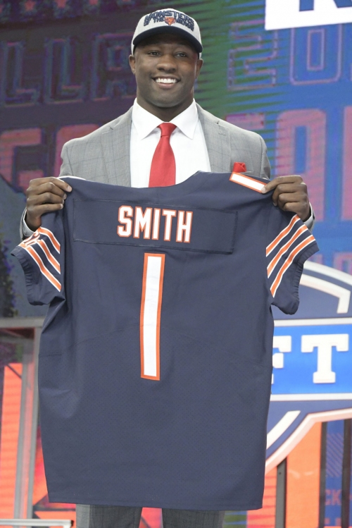 Georgia outside linebacker Roquan Smith is selected eighth overall by the Chicago Bears during the NFL Draft at AT&T Stadium in Arlington, Texas, on April 26, 2018.