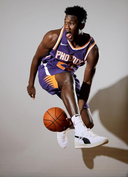 NBA rookie photo shoot: Deandre Ayton, Mikal Bridges, Elie Okobo in Phoenix Suns uniforms
