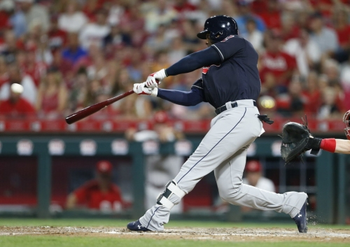 Cleveland Indians' Yandy Diaz hits a high note with his ringing double against the Reds