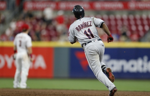 Cleveland Indians' MVP candidate Jose Ramirez right behind Boston's J.D. Martinez in AL HR race