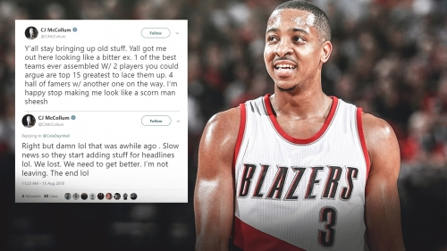 C.J. McCollum responds to reaction over Warriors ring-chasing comments