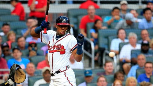 Photos: Braves' Ronald Acuna hit by pitch in first at-bat