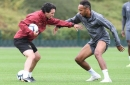 Pierre-Emerick Aubameyang teases Unai Emery during Arsenal training session