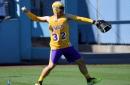 Jeanie Buss, Josh Hart Gift LeBron James Jerseys To Kenley Jansen, Matt Kemp & Yasiel Puig For Lakers Night At Dodger Stadium