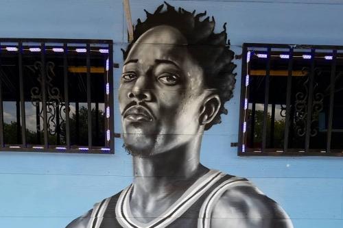 Someone has already painted a mural of DeMar DeRozan in San Antonio