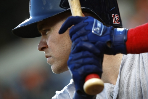 Brock Holt in Boston Red Sox lineup vs. Rays at third base; David Price on mound with Sandy Leon catching
