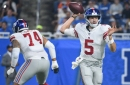 Pro Football Focus believes the Giants' offensive line is trending up