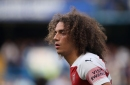 Matteo Guendouzi punches the ground in anger after Pierre-Emerick Aubameyang misses sitter