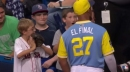 Rays' Carlos Gomez makes young fan's day with gift of bat (w/video)