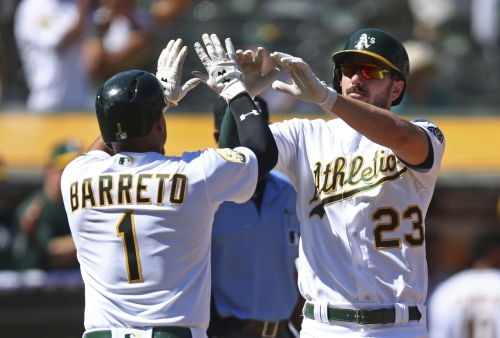 A's offense, bullpen picks up Trevor Cahill to complete sweep of Rangers