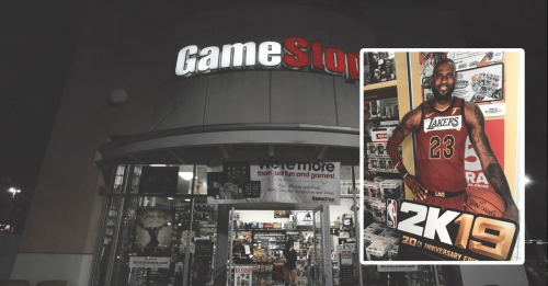 California GameStop tapes Lakers logo over 'Cavaliers' on LeBron James' NBA 2K19 cutout