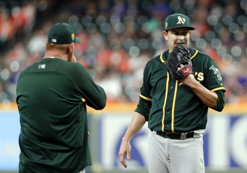A's starting pitcher sent back to Oakland for MRI