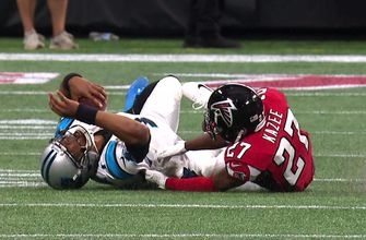 Cam Newton takes huge late hit to the head