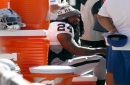 The Latest: Lynch seated during national anthem