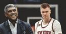 Knicks president Steve Mills says there's still no timetable for Kristaps Porzingis' return