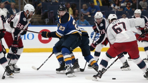 Blues take top line for a spin in win over Columbus