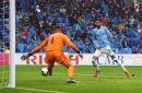 Riyad Mahrez reacts to scoring first Man City goals vs Cardiff City