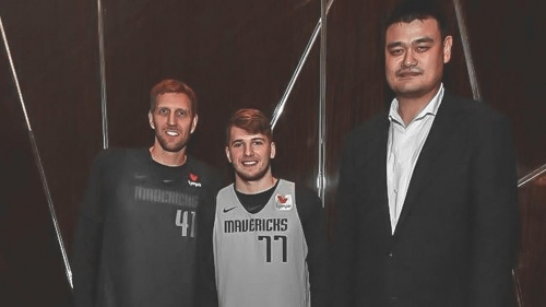 Mavs' Luka Doncic posts legendary picture that features Yao Ming dwarfing him, Dirk Nowitzki