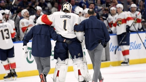 Florida Panthers goalie Luongo exits game with apparent leg injury