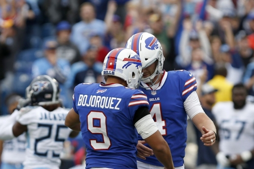 Bills players react after beating Titans on last-second field goal