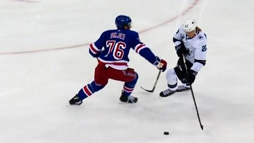 Sharks' Sorensen dipsy-doodles Rangers' Skjei for short-handed goal
