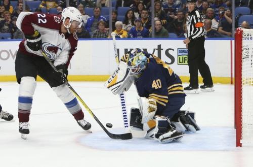 Avalanche pounces on goalie Carter Hutton, Buffalo Sabres