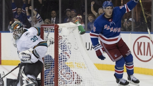 Quinn gets first win, Rangers beat Sharks in overtime