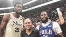 Video: Sixers' Joel Embiid, Michael Rubin both convert sick trick shots