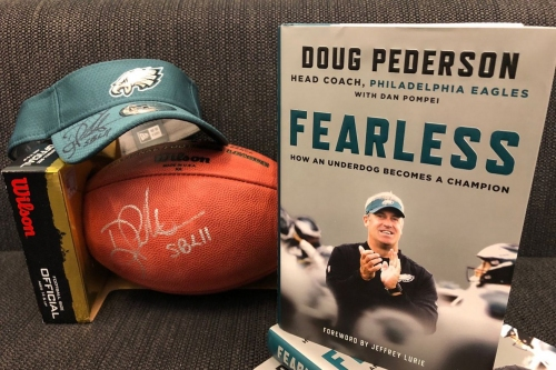 Win a copy of Doug Pederson's book, plus a signed football and Eagles visor