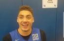 Reid Travis loves checkerboard design, embracing the Big Blue Nation