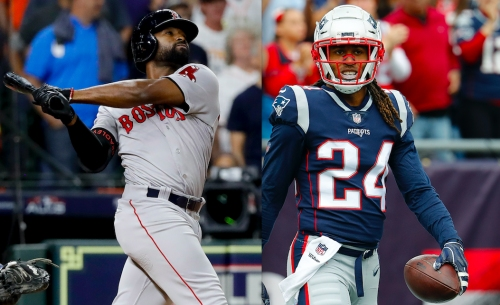 Stephon Gilmore cheering on college friend Jackie Bradley Jr. during Red Sox postseason