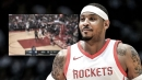 Video: Rockets' Carmelo Anthony grabs rebound with matching NSFW yell