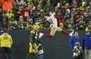 Marquise Goodwin showed off his long jump skills after his second TD vs. Packers