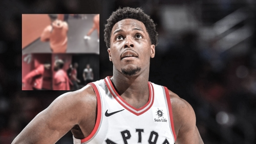 Raptors PG Kyle Lowry does his typical pre-game handshake ritual with DeMar DeRozan (without DeMar)