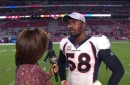 Von Miller talks with Kristina Pink after the Broncos' lopsided win over the Cardinals